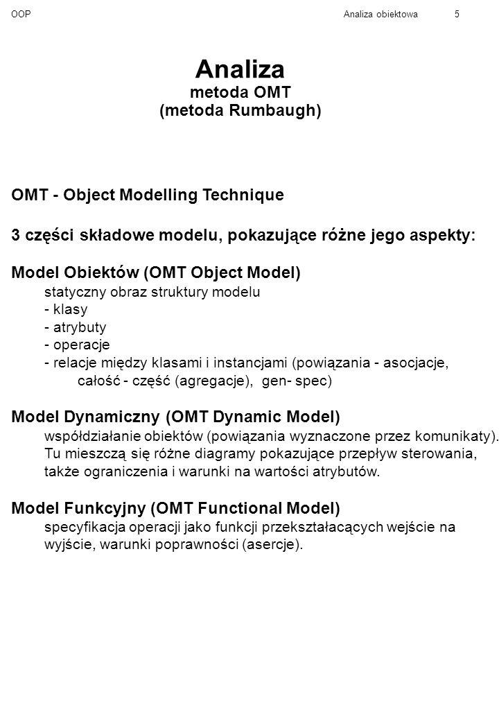 OOPAnaliza obiektowa5 Analiza metoda OMT (metoda Rumbaugh) OMT - Object Modelling Technique 3 części składowe modelu, pokazujące różne jego aspekty: Model Obiektów (OMT Object Model) statyczny obraz struktury modelu - klasy - atrybuty - operacje - relacje między klasami i instancjami (powiązania - asocjacje, całość - część (agregacje), gen- spec) Model Dynamiczny (OMT Dynamic Model) współdziałanie obiektów (powiązania wyznaczone przez komunikaty).