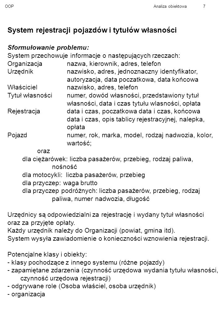 OOPAnaliza obiektowa8 Coad/Yourdon Klasa-i-obiekt Klasa II.