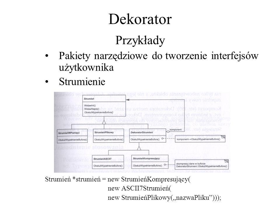 Dekorator Przykłady Pakiety narzędziowe do tworzenie interfejsów użytkownika Strumienie Strumień *strumień = new StrumieńKompresujący( new ASCII7Strum