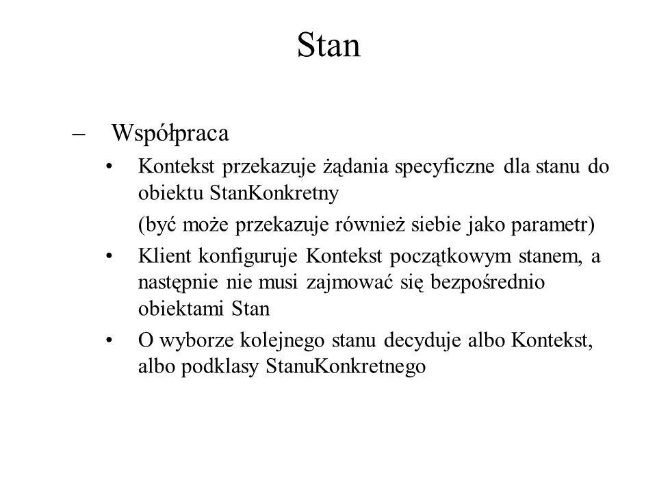 Stan –Współpraca Kontekst przekazuje żądania specyficzne dla stanu do obiektu StanKonkretny (być może przekazuje również siebie jako parametr) Klient