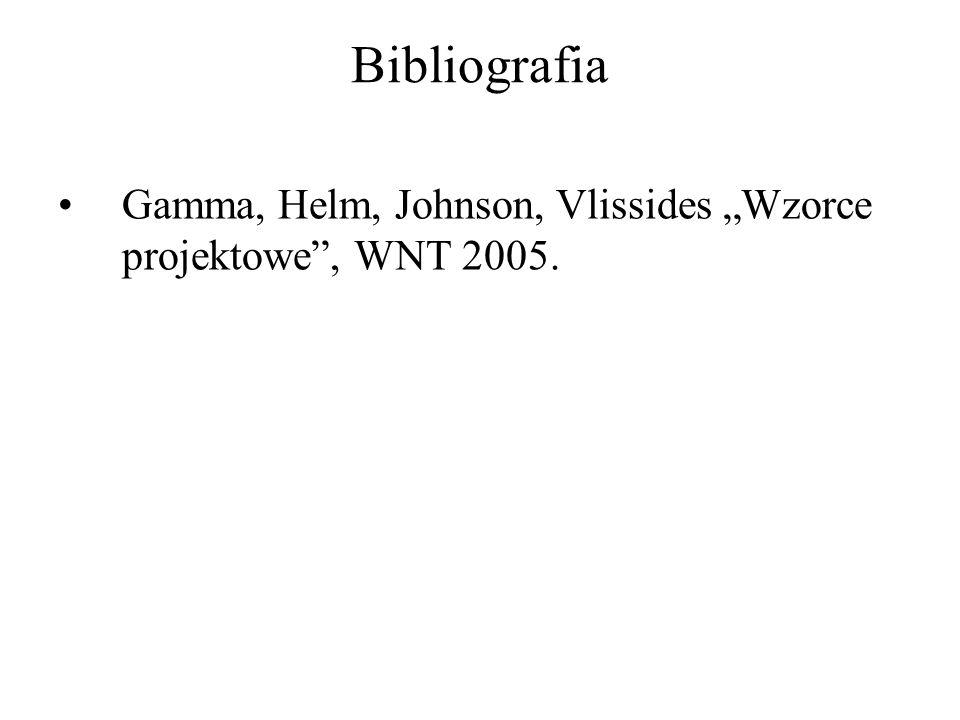 Bibliografia Gamma, Helm, Johnson, Vlissides Wzorce projektowe, WNT 2005.