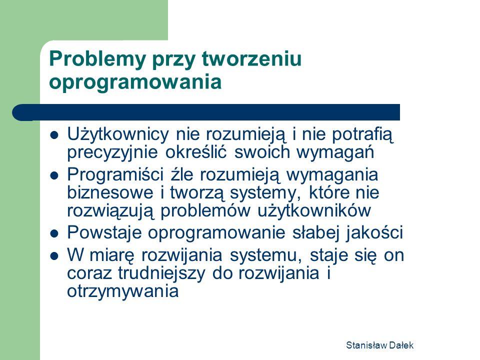Stanisław Dałek Problemy przy tworzeniu oprogramowania Użytkownicy nie rozumieją i nie potrafią precyzyjnie określić swoich wymagań Programiści źle ro