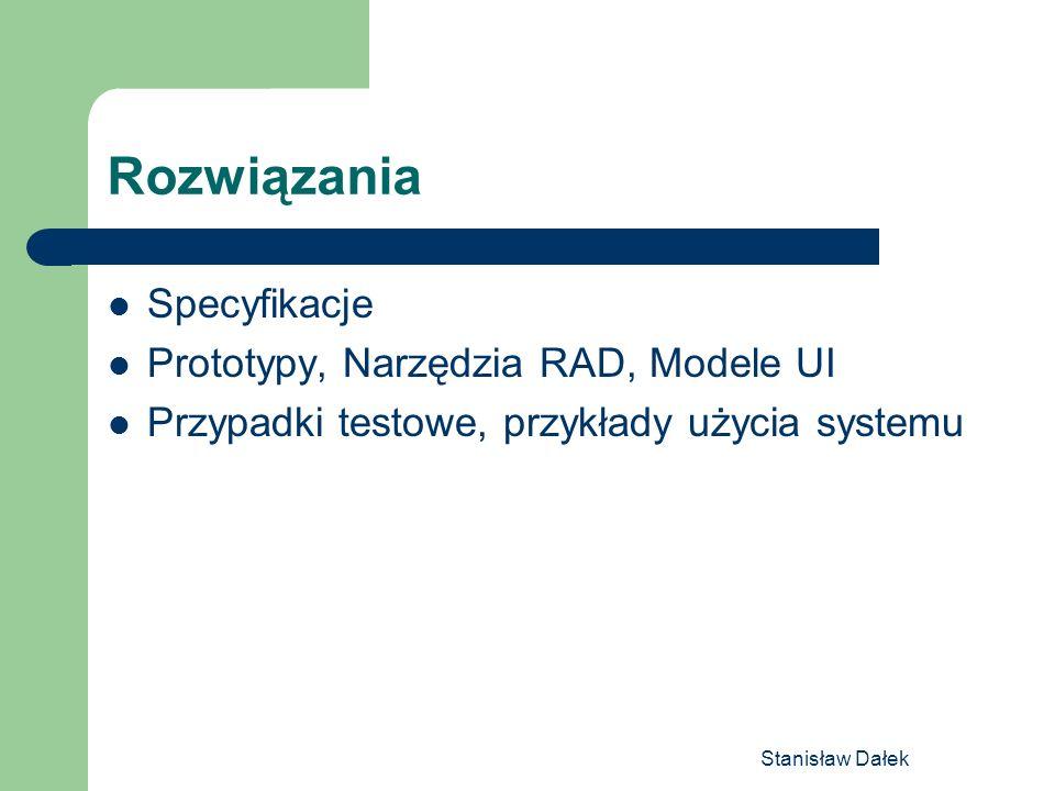 Stanisław Dałek Rozwiązania Specyfikacje Prototypy, Narzędzia RAD, Modele UI Przypadki testowe, przykłady użycia systemu