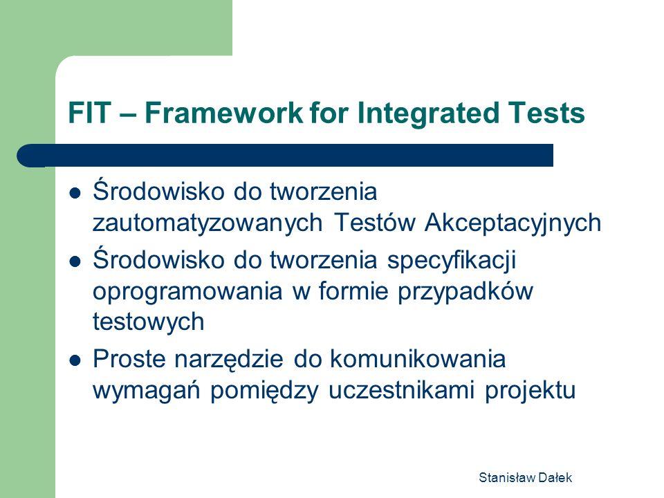 Stanisław Dałek FIT – Framework for Integrated Tests Środowisko do tworzenia zautomatyzowanych Testów Akceptacyjnych Środowisko do tworzenia specyfika