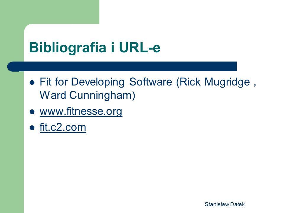 Stanisław Dałek Bibliografia i URL-e Fit for Developing Software (Rick Mugridge, Ward Cunningham) www.fitnesse.org fit.c2.com