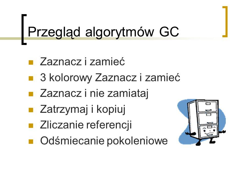 Przegląd algorytmów GC Zaznacz i zamieć 3 kolorowy Zaznacz i zamieć Zaznacz i nie zamiataj Zatrzymaj i kopiuj Zliczanie referencji Odśmiecanie pokoleniowe