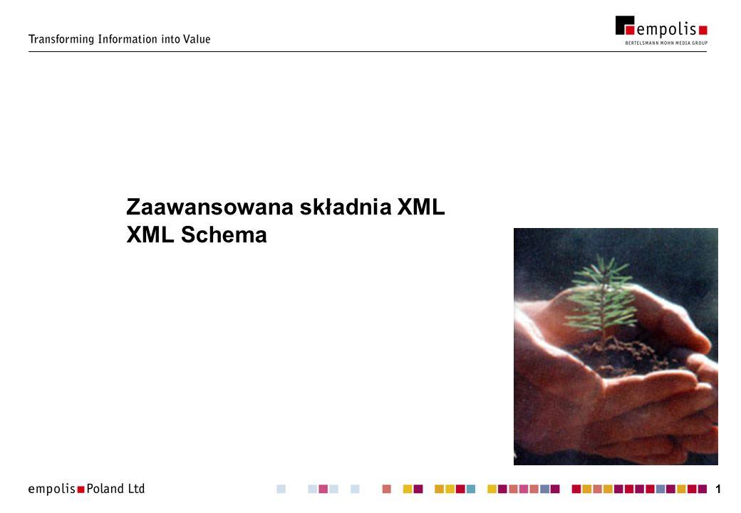 22 Zaawansowana składnia XML Komentarz: Instrukcja przetwarzania: Sekcja CDATA: Odwołania do znaków: ¡ ¡ kody zgodne ze standardem ISO/IEC 10646.