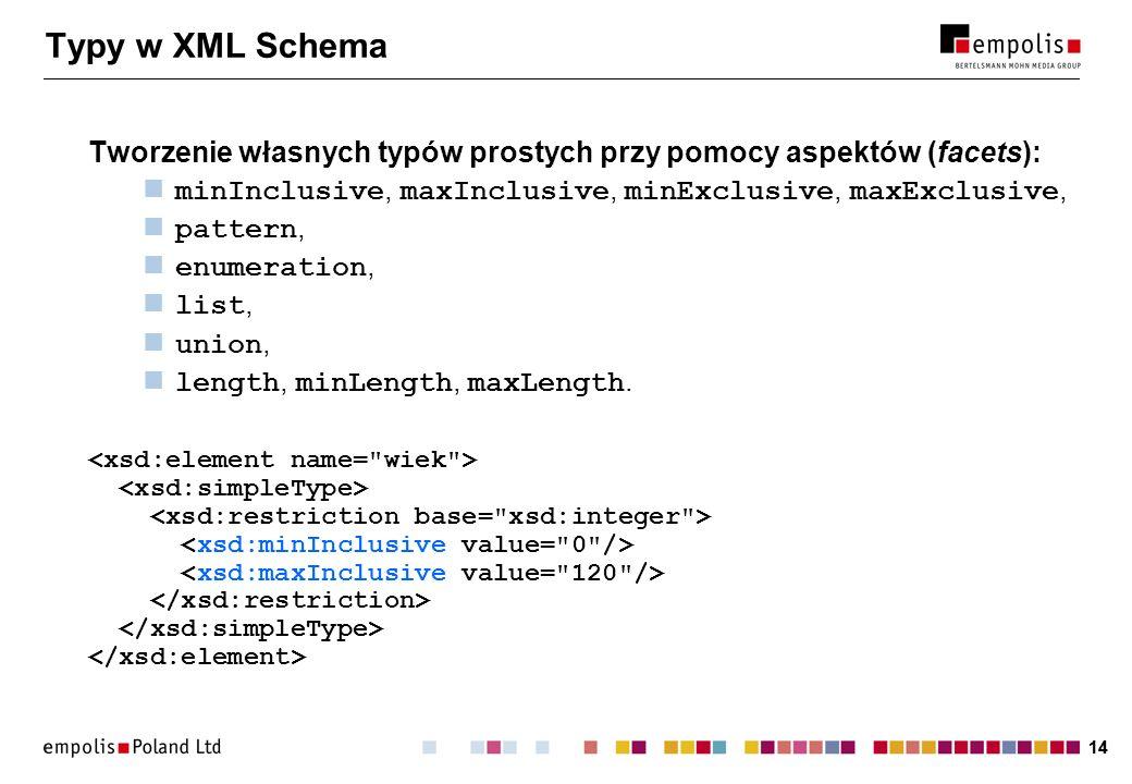 14 Typy w XML Schema Tworzenie własnych typów prostych przy pomocy aspektów (facets): minInclusive, maxInclusive, minExclusive, maxExclusive, pattern,