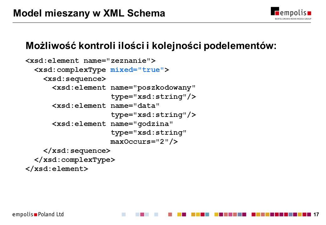 17 Model mieszany w XML Schema Możliwość kontroli ilości i kolejności podelementów: