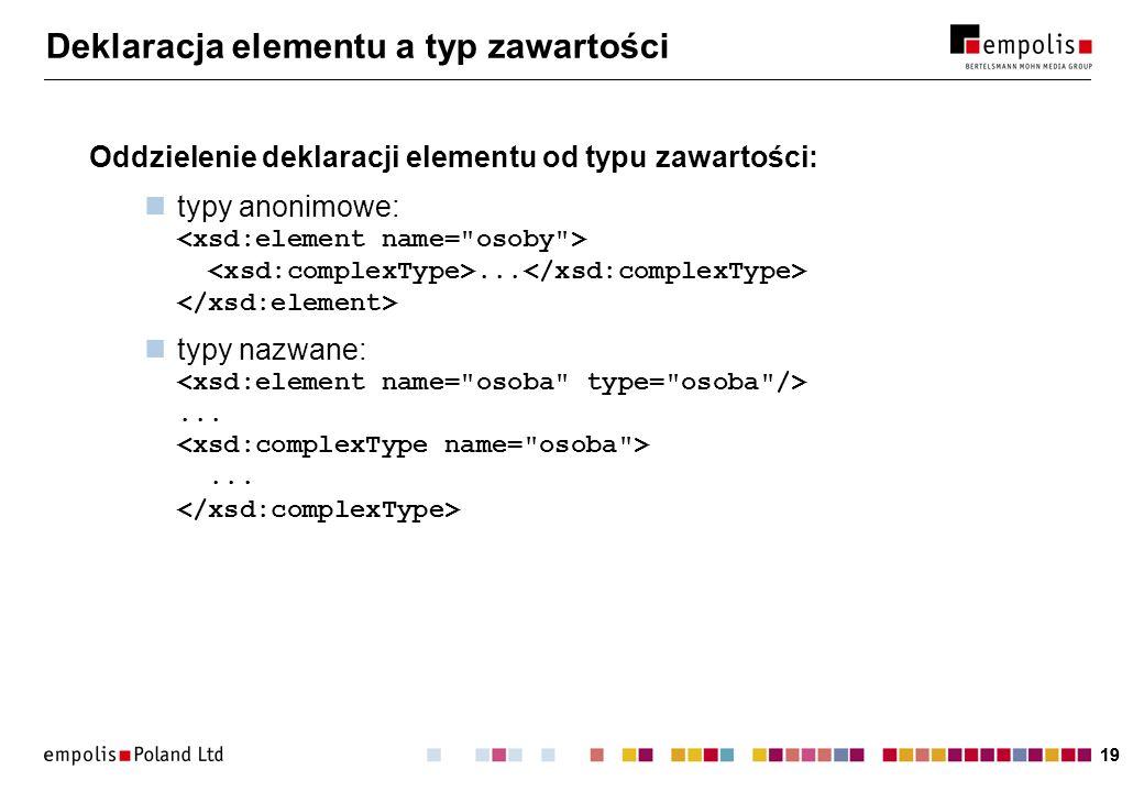 19 Deklaracja elementu a typ zawartości Oddzielenie deklaracji elementu od typu zawartości: typy anonimowe:... typy nazwane:......