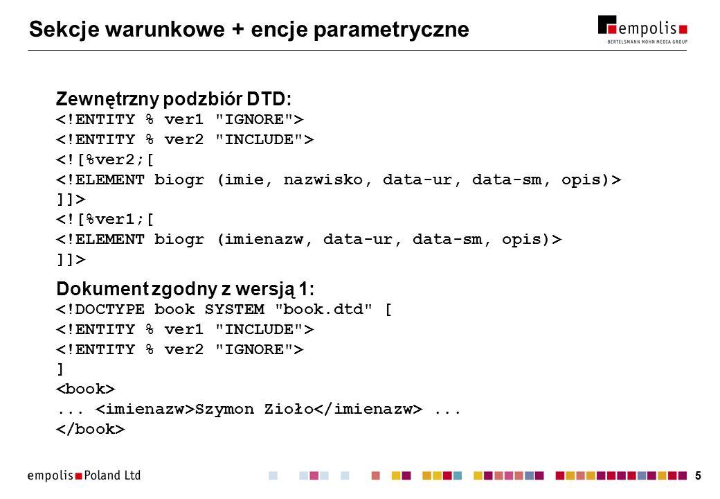 55 Sekcje warunkowe + encje parametryczne Zewnętrzny podzbiór DTD: ]]> ]]> Dokument zgodny z wersją 1: ]... Szymon Zioło...