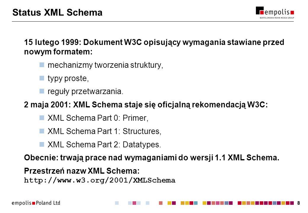 88 Status XML Schema 15 lutego 1999: Dokument W3C opisujący wymagania stawiane przed nowym formatem: mechanizmy tworzenia struktury, typy proste, regu