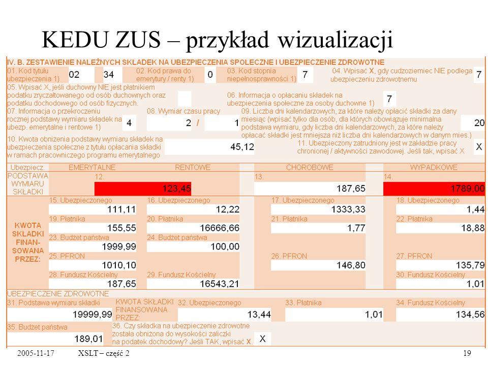 2005-11-17XSLT – część 219 KEDU ZUS – przykład wizualizacji
