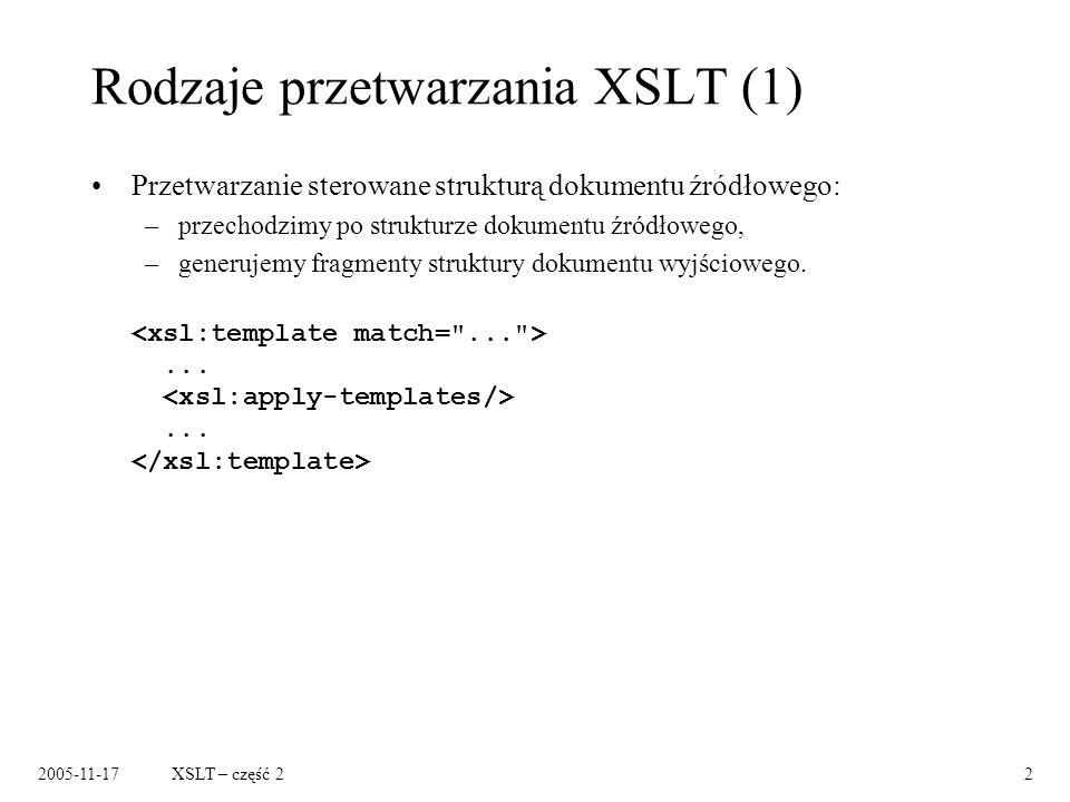 2005-11-17XSLT – część 22 Rodzaje przetwarzania XSLT (1) Przetwarzanie sterowane strukturą dokumentu źródłowego: –przechodzimy po strukturze dokumentu źródłowego, –generujemy fragmenty struktury dokumentu wyjściowego.......