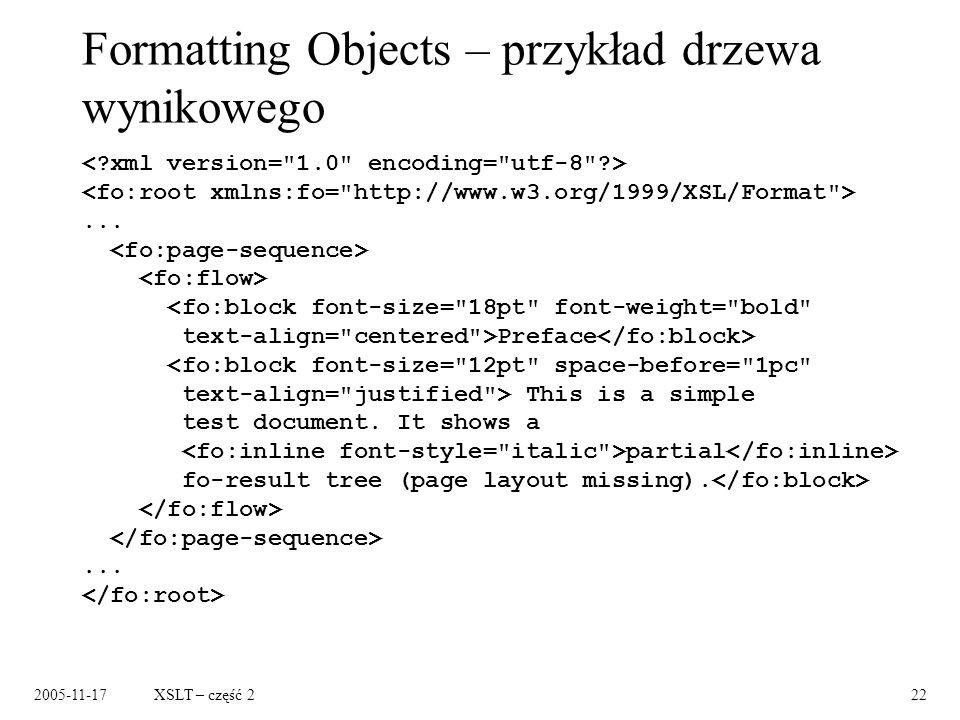 2005-11-17XSLT – część 222 Formatting Objects – przykład drzewa wynikowego...