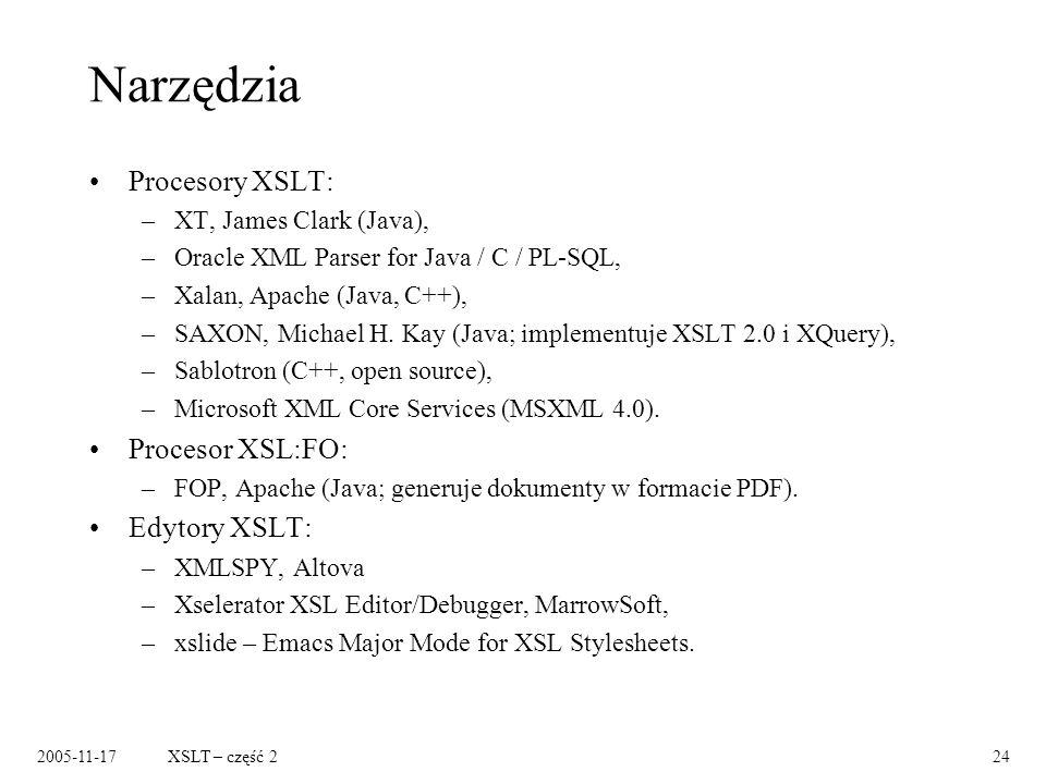 2005-11-17XSLT – część 224 Narzędzia Procesory XSLT: –XT, James Clark (Java), –Oracle XML Parser for Java / C / PL-SQL, –Xalan, Apache (Java, C++), –SAXON, Michael H.