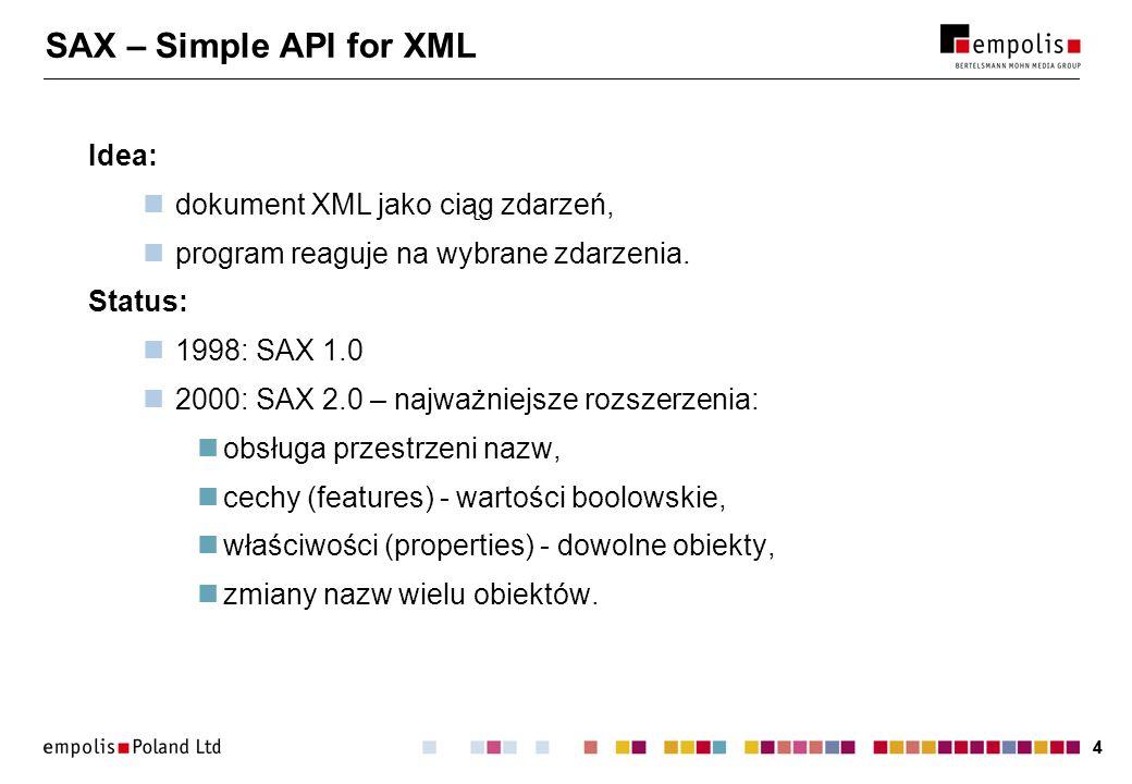 44 SAX – Simple API for XML Idea: dokument XML jako ciąg zdarzeń, program reaguje na wybrane zdarzenia. Status: 1998: SAX 1.0 2000: SAX 2.0 – najważni