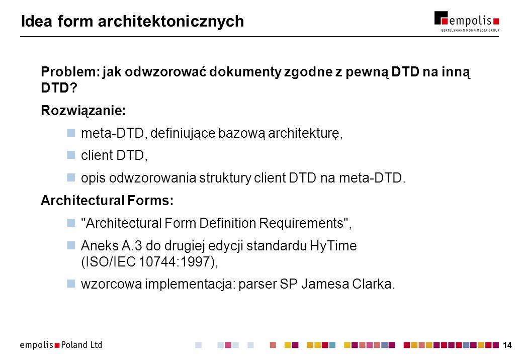14 Idea form architektonicznych Problem: jak odwzorować dokumenty zgodne z pewną DTD na inną DTD.
