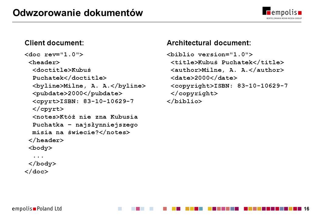 16 Odwzorowanie dokumentów Client document: Kubuś Puchatek Milne, A.