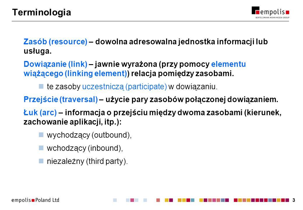 33 Terminologia Zasób (resource) – dowolna adresowalna jednostka informacji lub usługa.