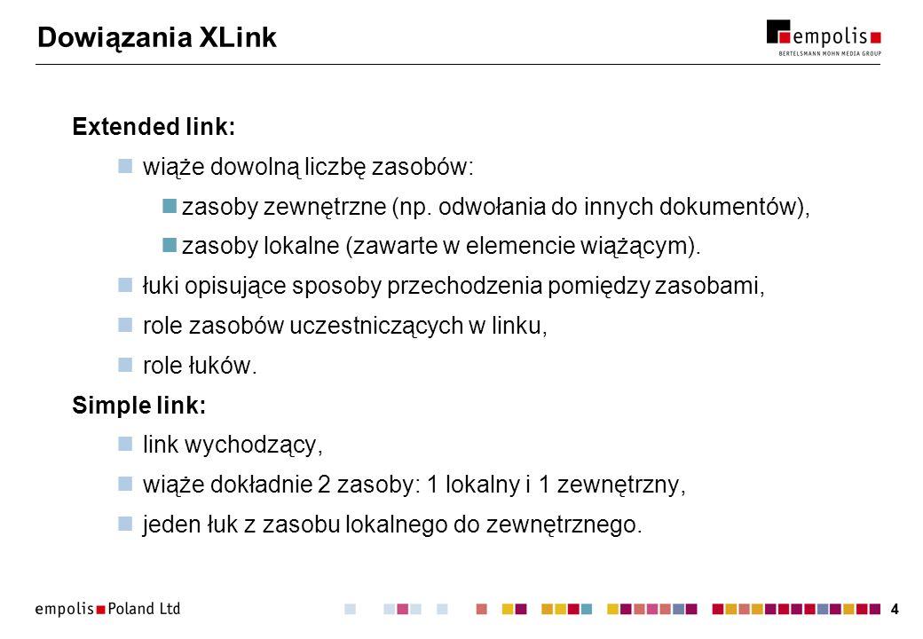 44 Dowiązania XLink Extended link: wiąże dowolną liczbę zasobów: zasoby zewnętrzne (np.