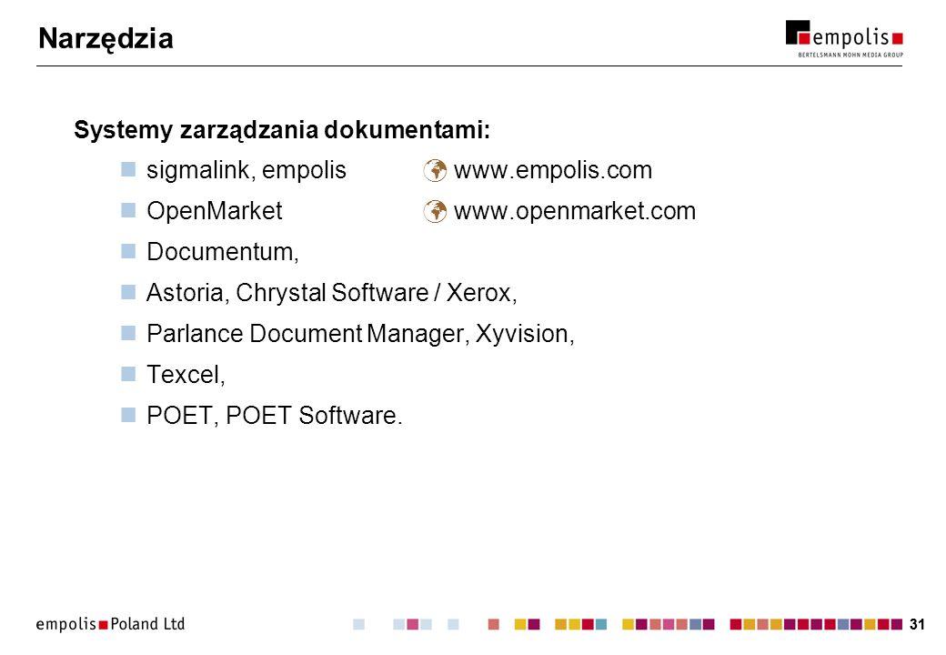 31 Narzędzia Systemy zarządzania dokumentami: sigmalink, empolis www.empolis.com OpenMarket www.openmarket.com Documentum, Astoria, Chrystal Software / Xerox, Parlance Document Manager, Xyvision, Texcel, POET, POET Software.
