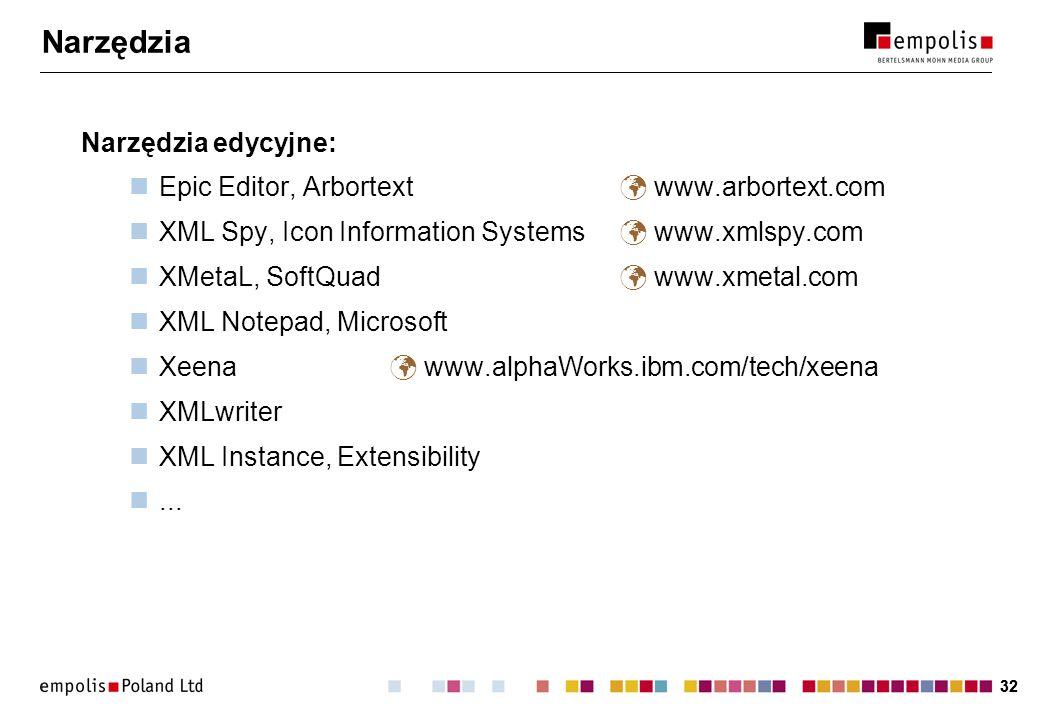 32 Narzędzia Narzędzia edycyjne: Epic Editor, Arbortext www.arbortext.com XML Spy, Icon Information Systems www.xmlspy.com XMetaL, SoftQuad www.xmetal.com XML Notepad, Microsoft Xeena www.alphaWorks.ibm.com/tech/xeena XMLwriter XML Instance, Extensibility...
