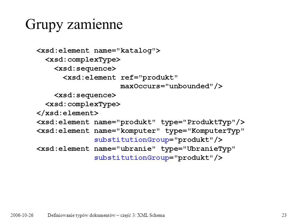 2006-10-26Definiowanie typów dokumentów – część 3: XML Schema23 Grupy zamienne
