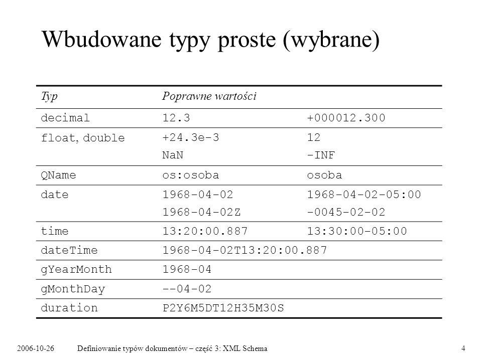 2006-10-26Definiowanie typów dokumentów – część 3: XML Schema4 Wbudowane typy proste (wybrane) TypPoprawne wartości decimal12.3+000012.300 float, double+24.3e-312 NaN -INF QNameos:osobaosoba date1968-04-021968-04-02-05:00 1968-04-02Z-0045-02-02 time13:20:00.88713:30:00-05:00 dateTime1968-04-02T13:20:00.887 gYearMonth1968-04 gMonthDay--04-02 durationP2Y6M5DT12H35M30S