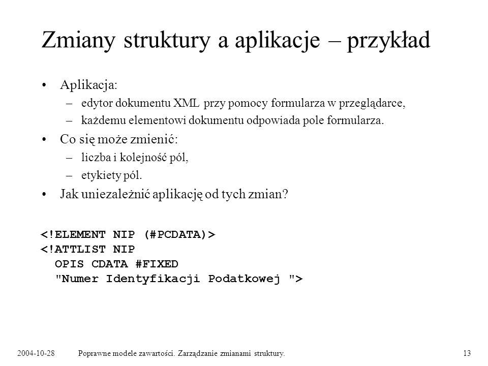 2004-10-28Poprawne modele zawartości. Zarządzanie zmianami struktury.13 Zmiany struktury a aplikacje – przykład Aplikacja: –edytor dokumentu XML przy