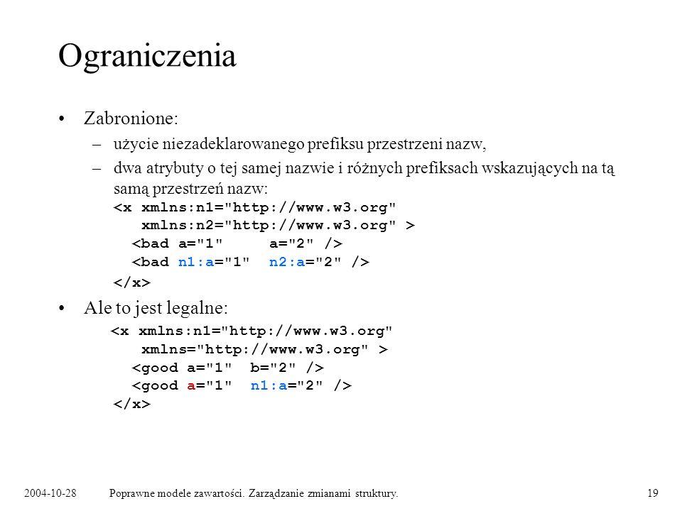 2004-10-28Poprawne modele zawartości. Zarządzanie zmianami struktury.19 Ograniczenia Zabronione: –użycie niezadeklarowanego prefiksu przestrzeni nazw,