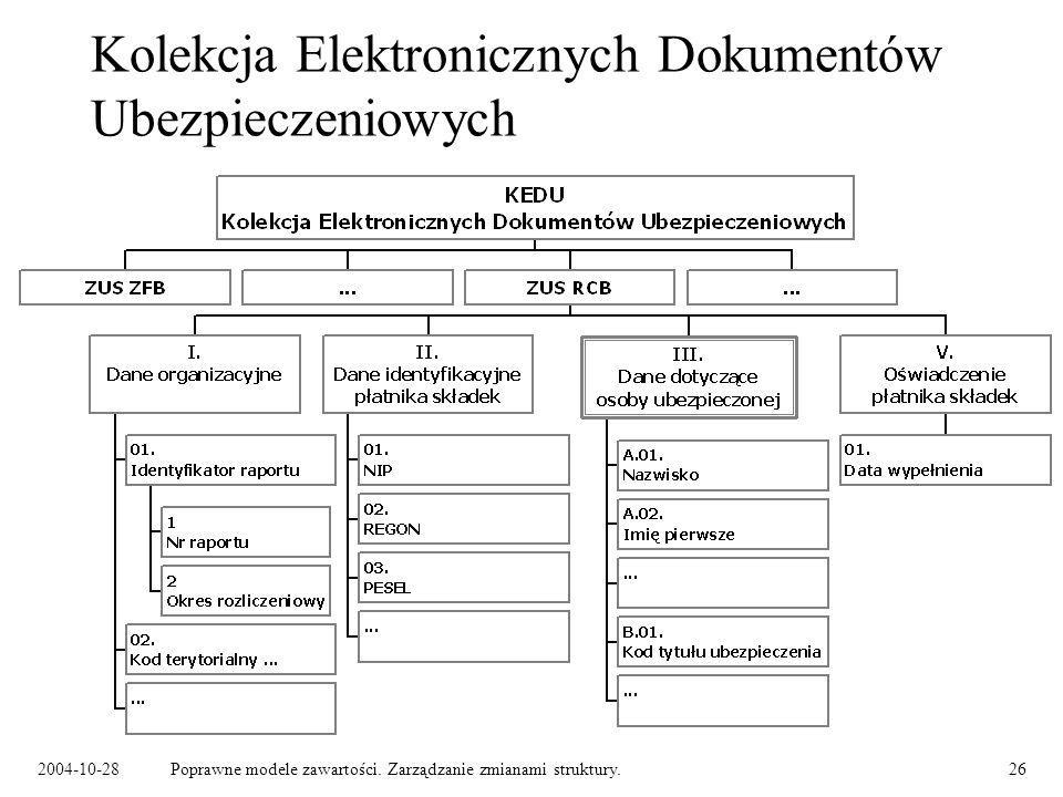 2004-10-28Poprawne modele zawartości. Zarządzanie zmianami struktury.26 Kolekcja Elektronicznych Dokumentów Ubezpieczeniowych