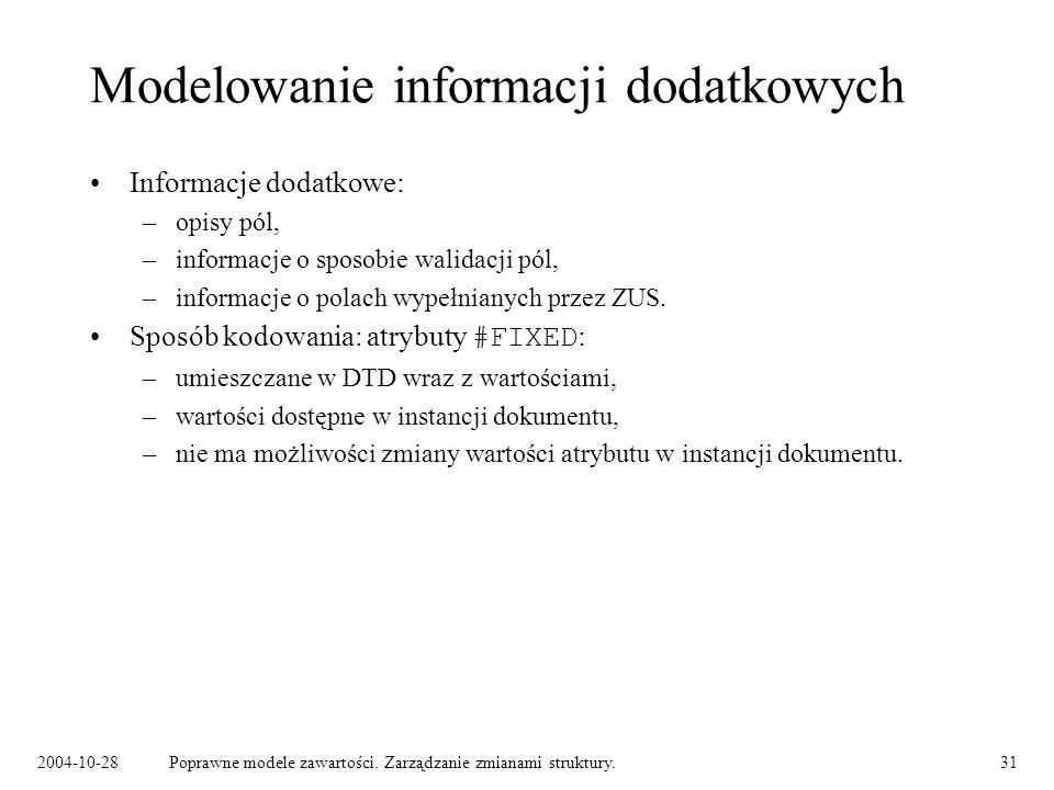 2004-10-28Poprawne modele zawartości. Zarządzanie zmianami struktury.31 Modelowanie informacji dodatkowych Informacje dodatkowe: –opisy pól, –informac