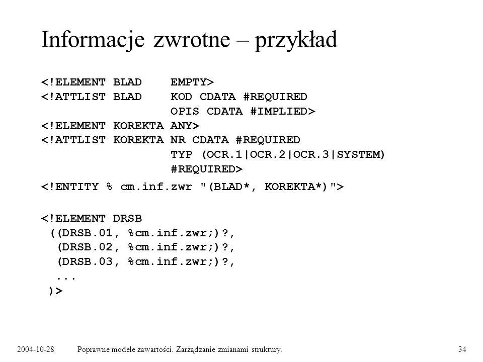 2004-10-28Poprawne modele zawartości. Zarządzanie zmianami struktury.34 Informacje zwrotne – przykład