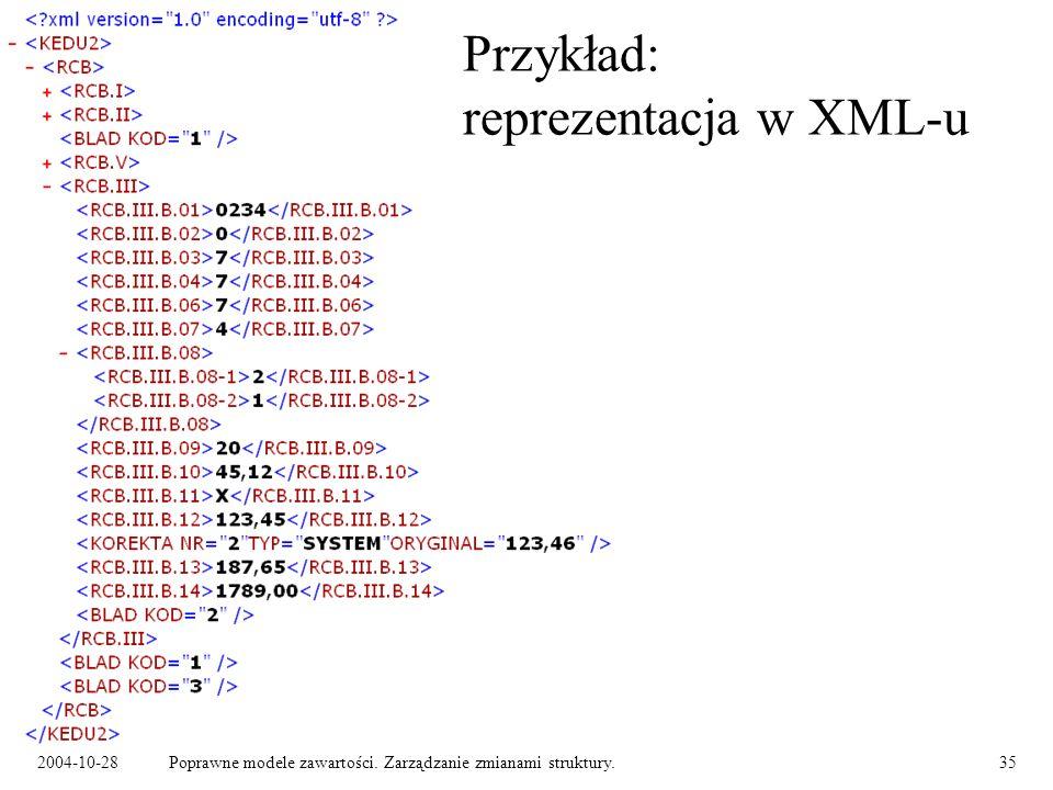 2004-10-28Poprawne modele zawartości. Zarządzanie zmianami struktury.35 Przykład: reprezentacja w XML-u