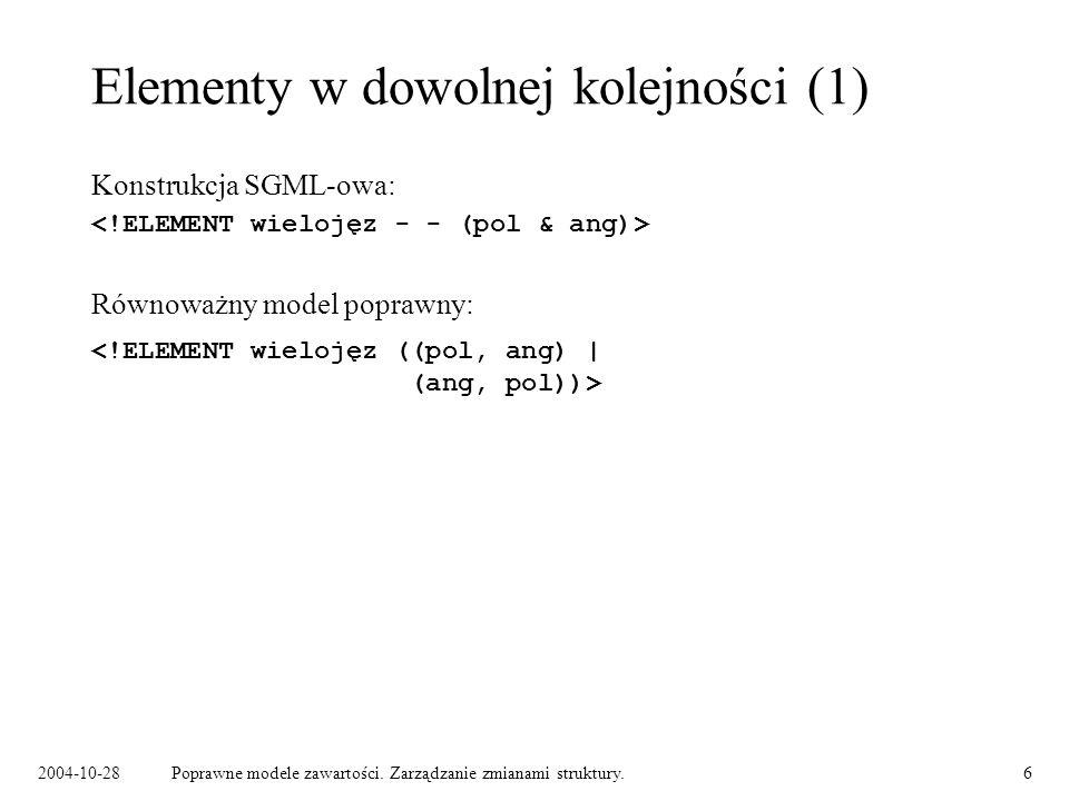 2004-10-28Poprawne modele zawartości. Zarządzanie zmianami struktury.6 Elementy w dowolnej kolejności (1) Konstrukcja SGML-owa: Równoważny model popra