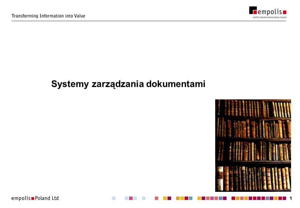 22 Statystyka 90% zasobów informacyjnych firm jest przechowywanych w dokumentach a nie w bazach danych (Delloite & Touche) 92 miliardy dokumentów tworzonych co roku (AIIM)