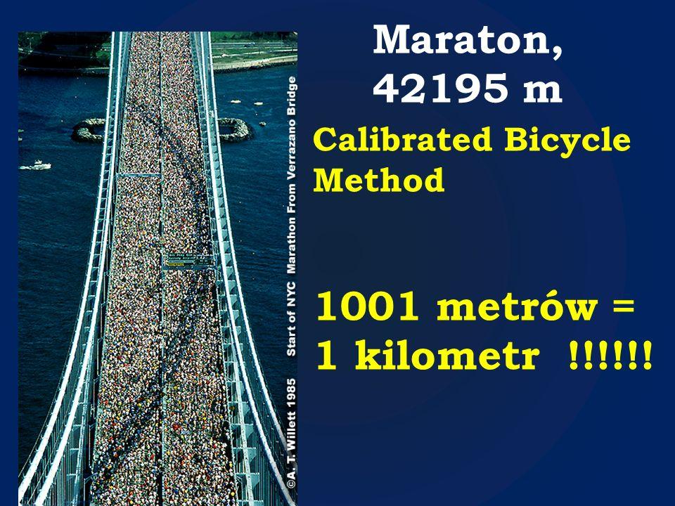 Maraton, 42195 m Calibrated Bicycle Method 1001 metrów = 1 kilometr !!!!!!