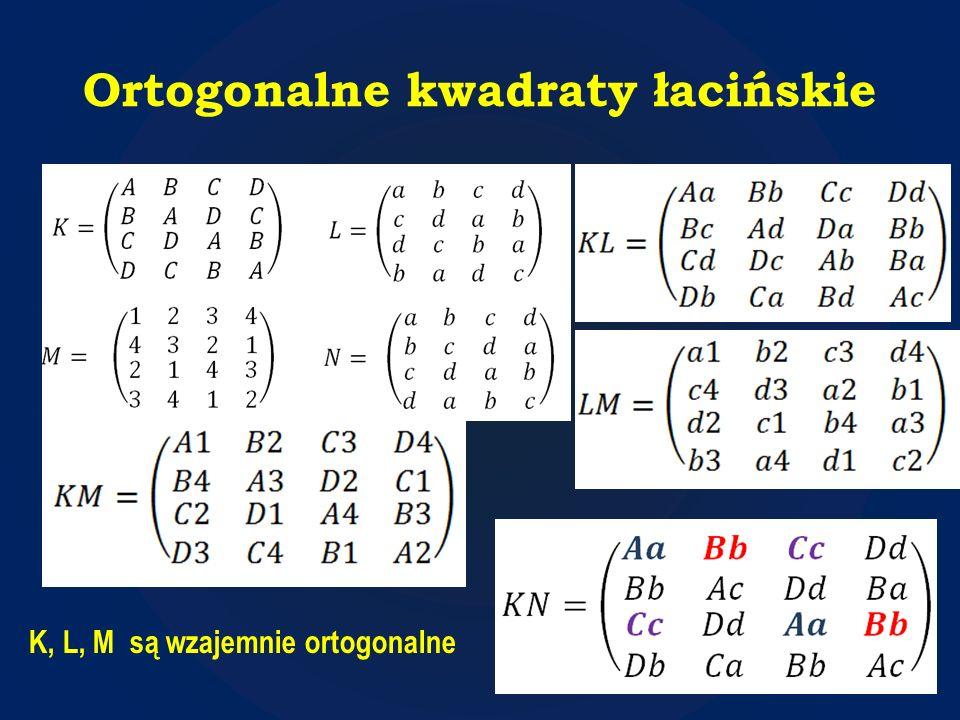 Ortogonalne kwadraty łacińskie K, L, M są wzajemnie ortogonalne