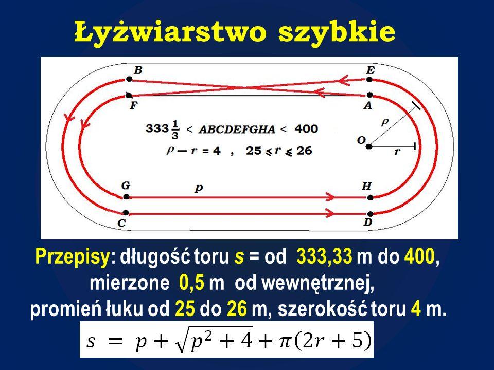Łyżwiarstwo szybkie Przepisy: długość toru s = od 333,33 m do 400, mierzone 0,5 m od wewnętrznej, promień łuku od 25 do 26 m, szerokość toru 4 m.