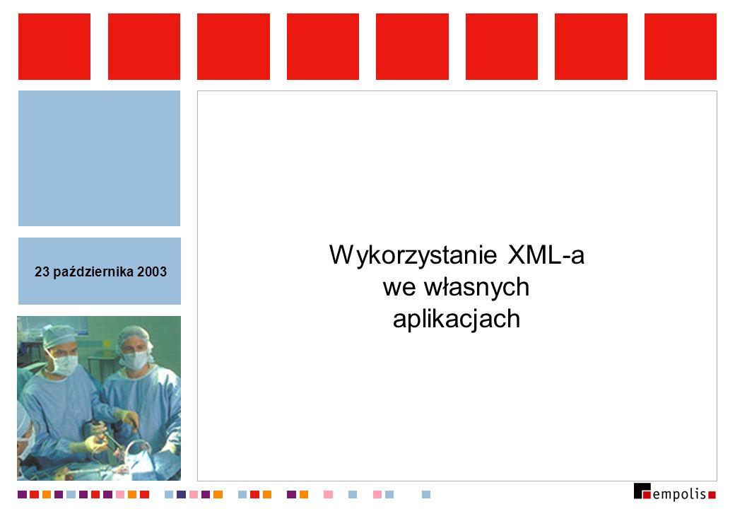 Modele dostępu do dokumentu XML Pozwalają programistom na dostęp do zawartości dokumentów XML na wysokim poziomie: korzystamy z abstrakcyjnych obiektów, nie troszczymy się o analizę leksykalną i składniową.