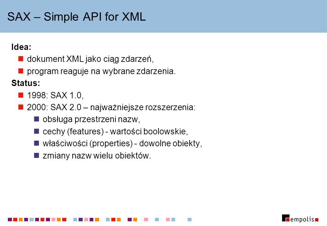 Klasy pomocnicze DOM NamedNodeMap : tablica haszująca obiektów Node (np.