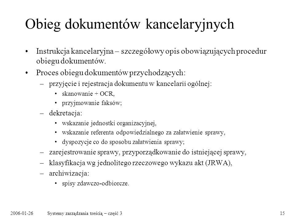2006-01-26Systemy zarządzania treścią – część 315 Obieg dokumentów kancelaryjnych Instrukcja kancelaryjna – szczegółowy opis obowiązujących procedur o