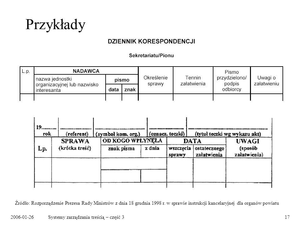 2006-01-26Systemy zarządzania treścią – część 317 Przykłady Źródło: Rozporządzenie Prezesa Rady Ministrów z dnia 18 grudnia 1998 r. w sprawie instrukc