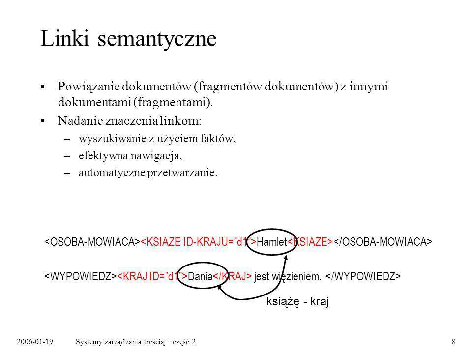 2006-01-19Systemy zarządzania treścią – część 29 Linki semantyczne – przykłady Encyklopedia: –urodzony w, –syn – ojciec, –tworzył pod wpływem, –jest/był prezydentem.