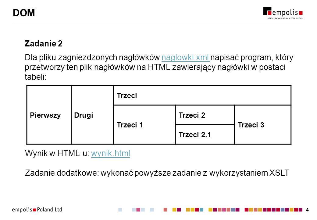 44 DOM Zadanie 2 Dla pliku zagnieżdżonych nagłówków naglowki.xml napisać program, który przetworzy ten plik nagłówków na HTML zawierający nagłówki w postaci tabeli:naglowki.xml PierwszyDrugi Trzeci Trzeci 1 Trzeci 2 Trzeci 3 Trzeci 2.1 Wynik w HTML-u: wynik.htmlwynik.html Zadanie dodatkowe: wykonać powyższe zadanie z wykorzystaniem XSLT