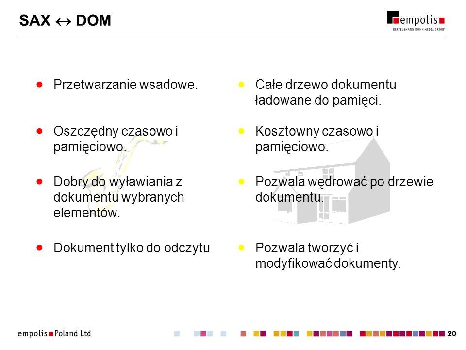 20 SAX DOM Przetwarzanie wsadowe. Całe drzewo dokumentu ładowane do pamięci. Dokument tylko do odczytu Pozwala tworzyć i modyfikować dokumenty. Dobry