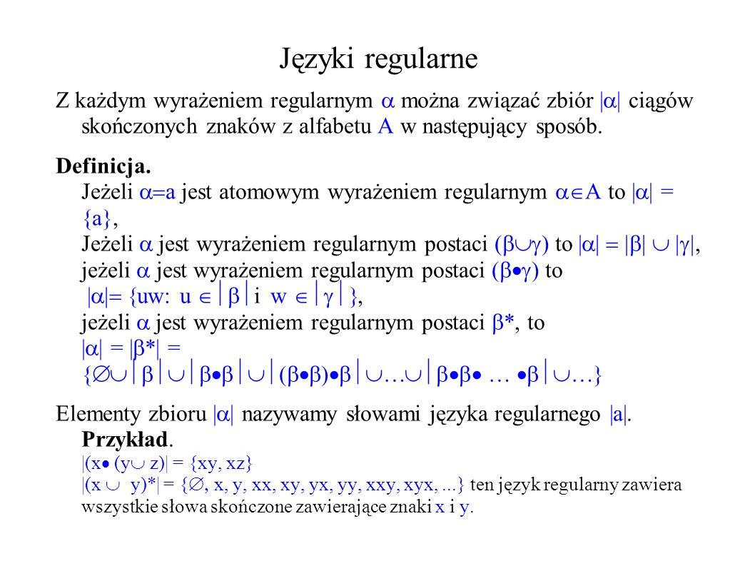Języki regularne Z każdym wyrażeniem regularnym można związać zbiór | | ciągów skończonych znaków z alfabetu A w następujący sposób. Definicja. Jeżeli
