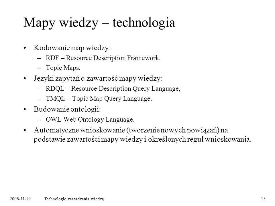 2006-11-19Technologie zarządzania wiedzą15 Mapy wiedzy – technologia Kodowanie map wiedzy: –RDF – Resource Description Framework, –Topic Maps.
