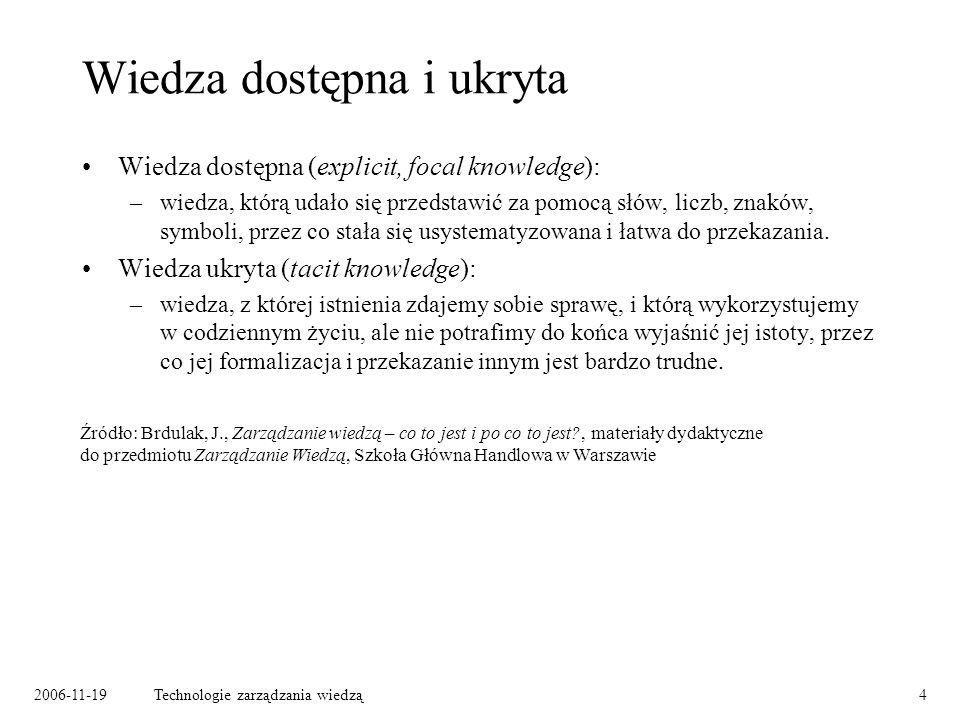2006-11-19Technologie zarządzania wiedzą4 Wiedza dostępna i ukryta Wiedza dostępna (explicit, focal knowledge): –wiedza, którą udało się przedstawić za pomocą słów, liczb, znaków, symboli, przez co stała się usystematyzowana i łatwa do przekazania.